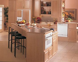 Kitchen with GE appliances strategically placed for Universal Design