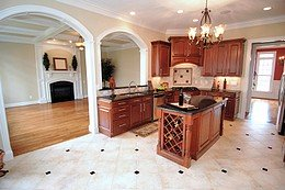 A stone to wood transitional floor.