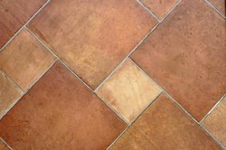 Terracotta tiles shown on a diagonal.