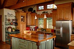 Warm wood countertop island